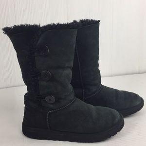 Ugg Bailey Button Triple Sheepskin Black Boot 5